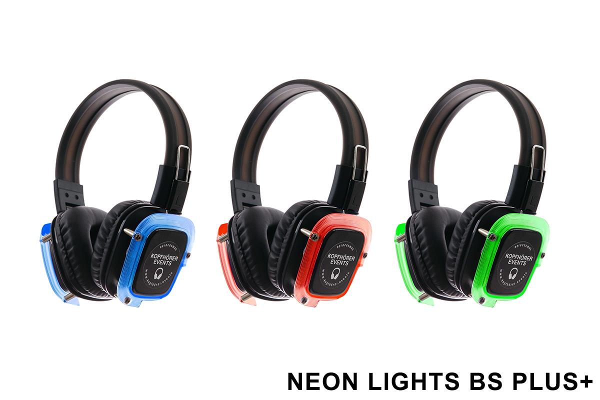 Silent Disco Kopfhörer Neon Lights BS Plus+